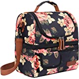 LOKASS Lunch Bags for Women Double Deck Insulated Lunch Box Large Cooler Tote Bag with Removable Shoulder Strap Wide Open Thermal Meal Prep Lunch Organizer Box for Adults/Work/Outdoor Black Peony
