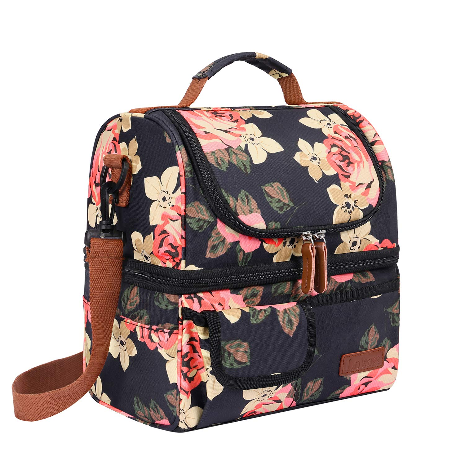 LOKASS Lunch Bags for Women Double Deck Insulated Lunch Box Large Cooler Tote Bag with Removable Shoulder Strap Wide Open Thermal Meal Prep Lunch Organizer Box for Adults/Work/Outdoor, Black Peony
