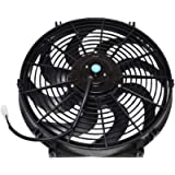 A-Team Performance 110011 Universal Electrical Radiator Cooling Fan 14' Heavy Duty 12 Volts Wide Curved 8 Blades 2400…