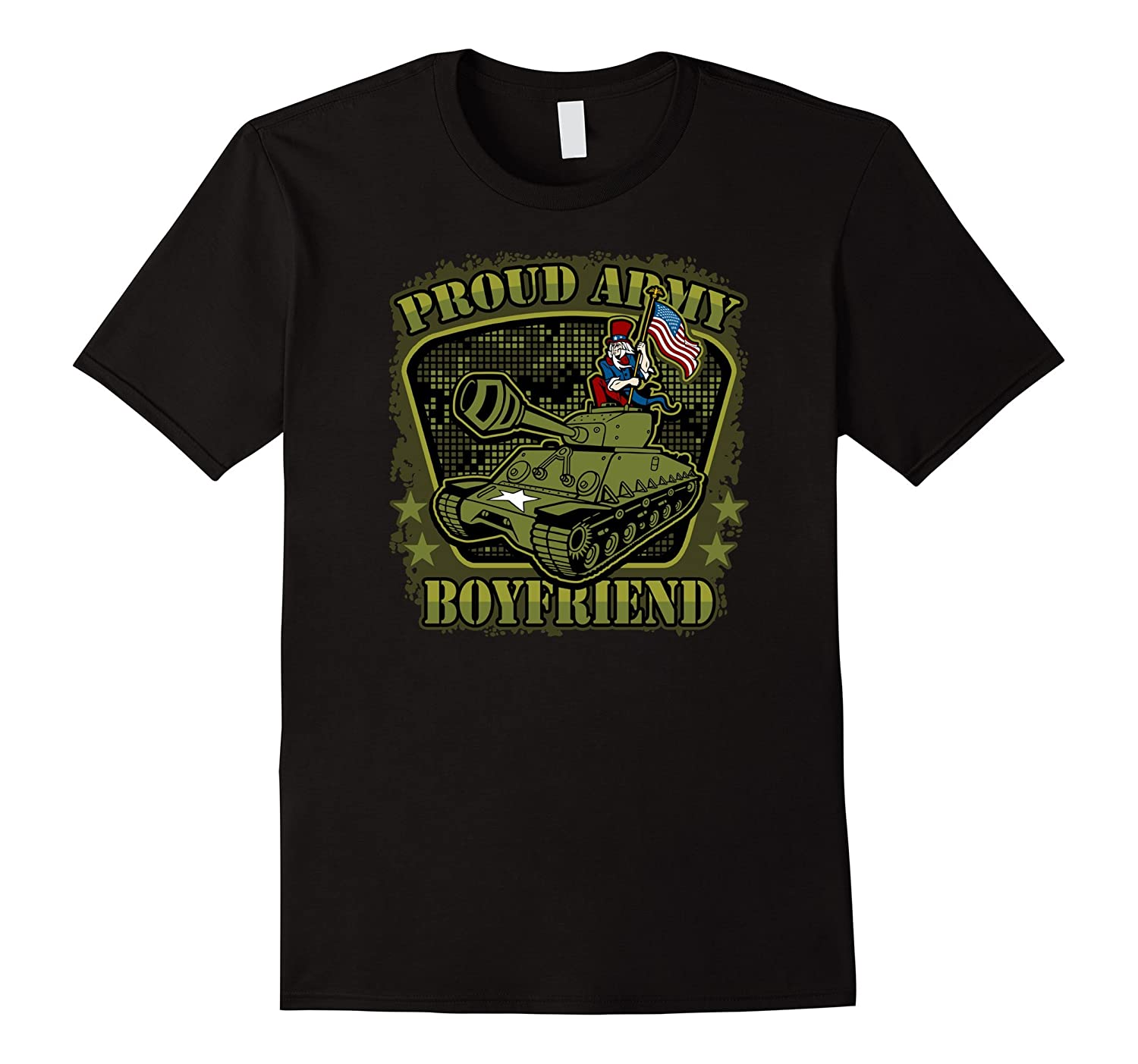 Mens Proud Army Boyfriend USA Uncle Sam on Tank T-shirts-CD