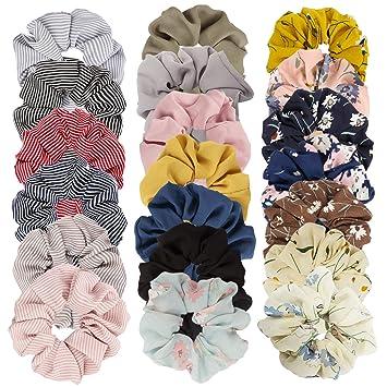 Pack 2 floral hair scrunchies fabric flower elastic bobble bun band scrunchie