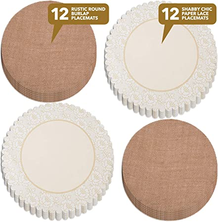 Shabby Chic PVC Tablemat Placemat Coasters Non-slip wipe clean  6 settings