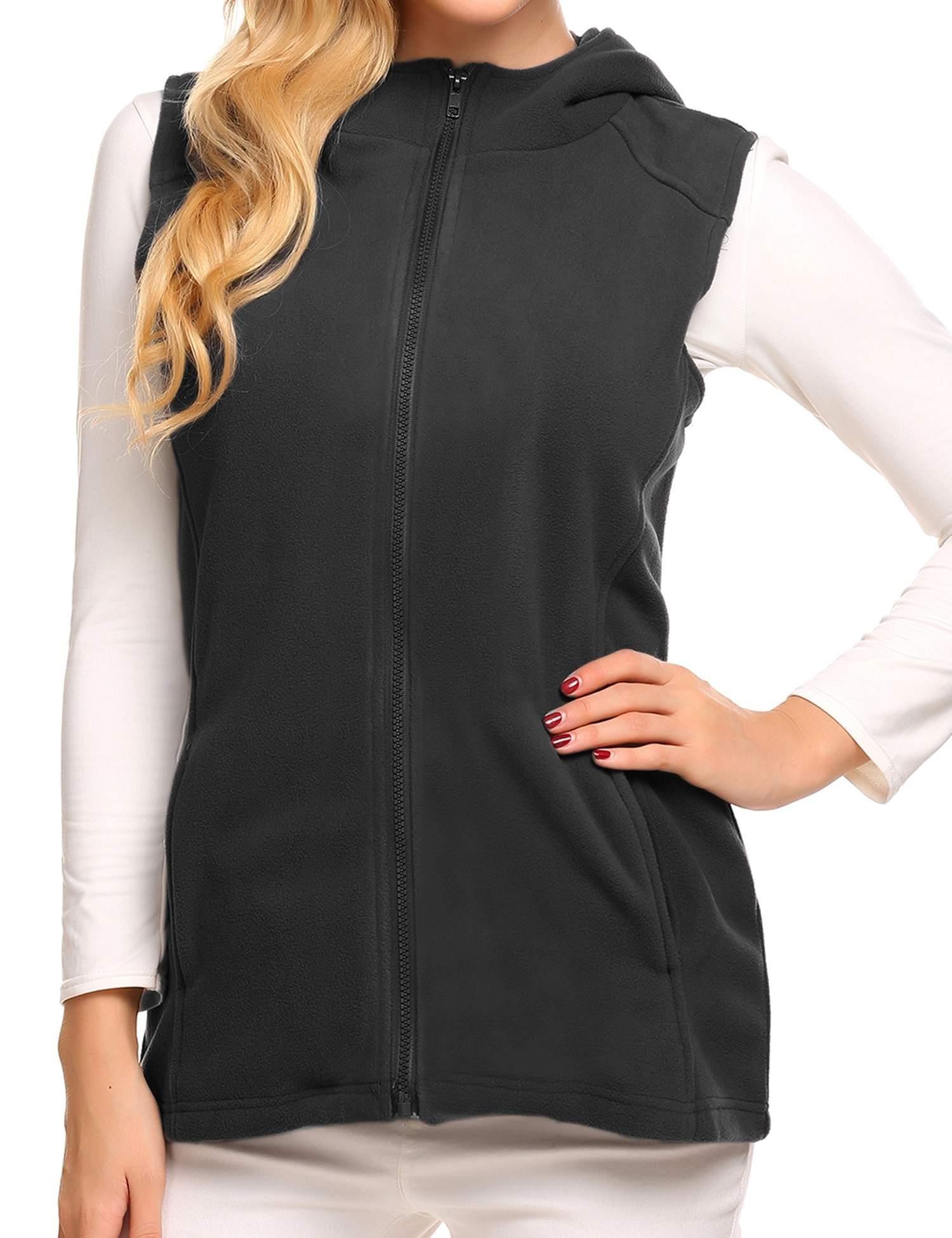 Soteer Women's Outdoor Quilted Vest Casual Zip Up Sleeveless Active Jacket Black L