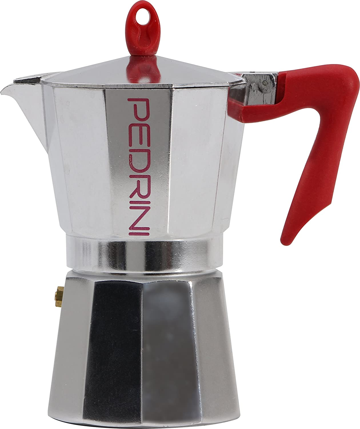 Pedrini: 9 Cups Espresso Coffee Pot, Polished Aluminium 9085