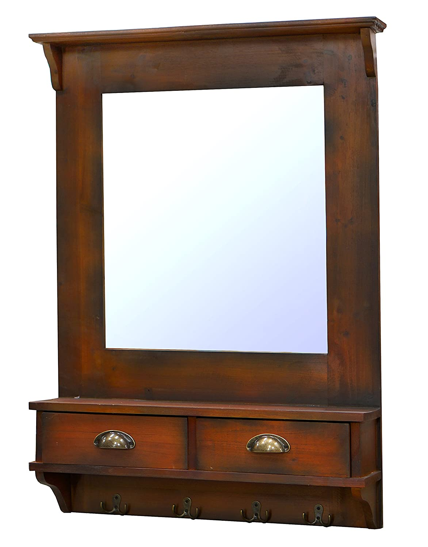 Dark Walnut 26.8 x 6.5 x 37.6 NACH FJ-17-2020 Rustic Wall Mirror with Drawers
