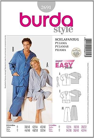 Burda Schnittmuster 2691 Pyjama f?r Sie & Ihn Gr. D 38/40-46/48, H ...