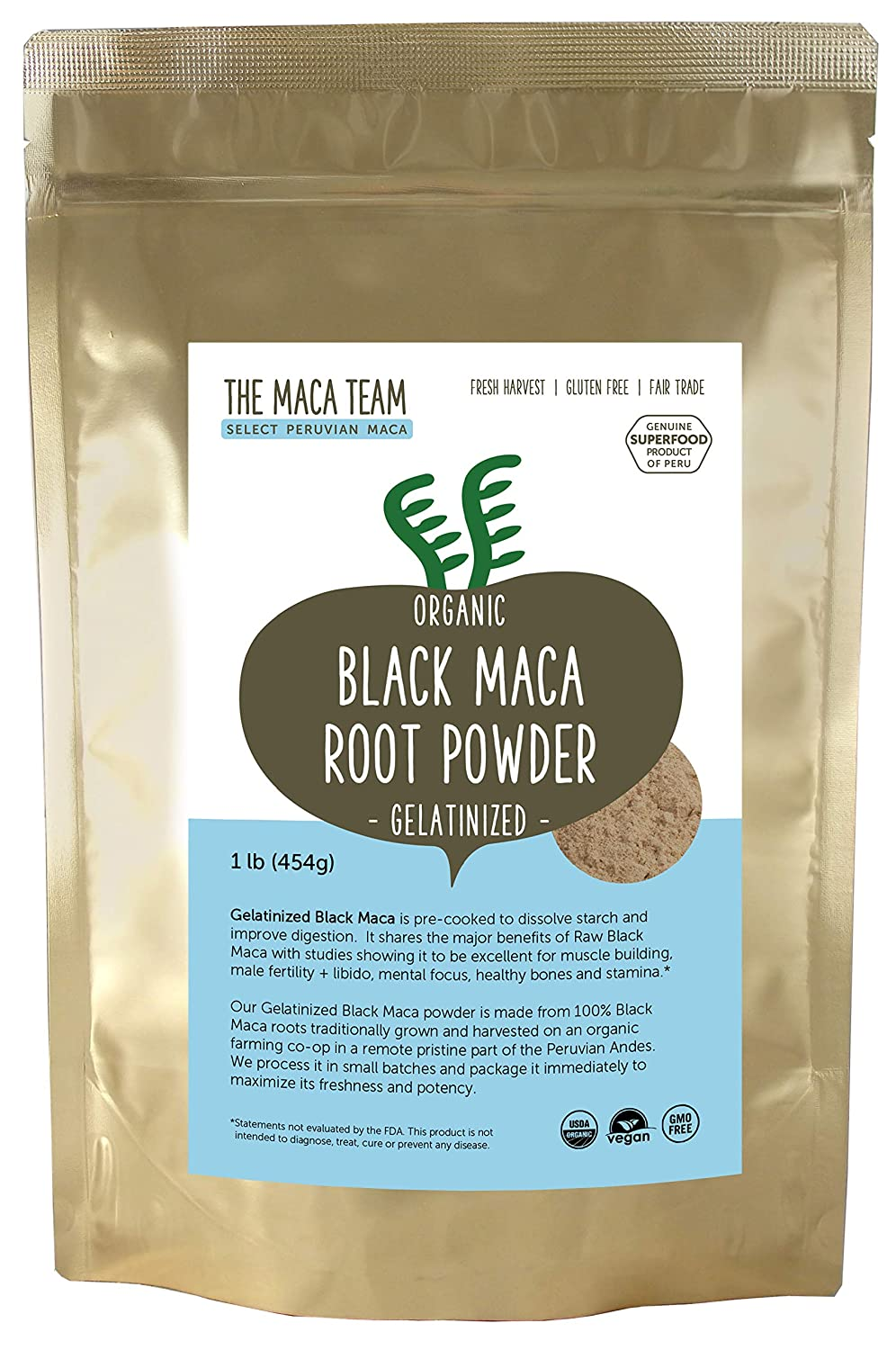 The Maca Team Gelatinized Black Maca Powder, Fair Trade, Vegan, GMO-Free, Premium Maca, 1 Pound, 50 Servings