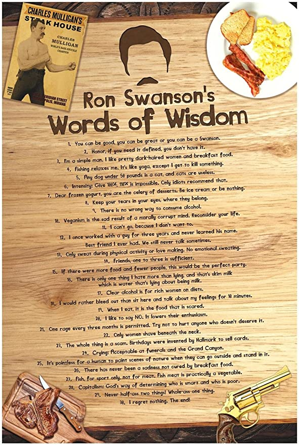 Cool TV Props Parks and Recreation Poster - Ron Swanson Pyramid of Greatness Poster Ron Swanson Poster (Words of Wisdom, 1)
