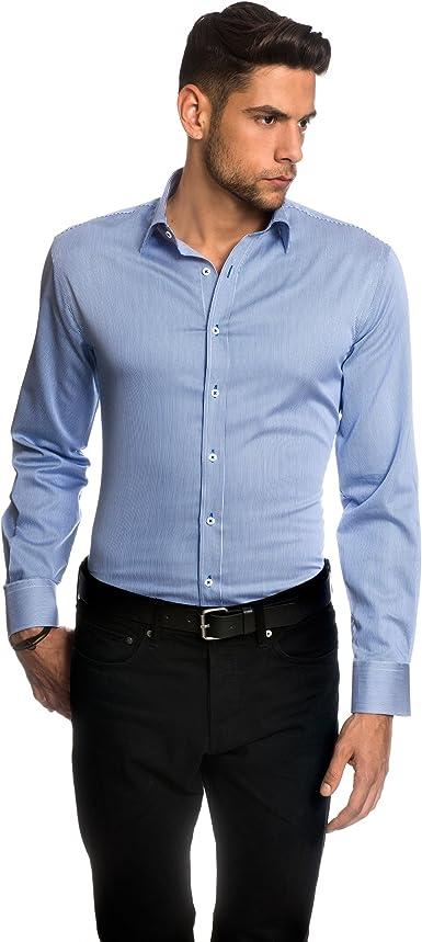 EMBRAER Camisa de Hombre, Ajustada Entallada (Slim-fit), 100% algodón, Manga -Larga, Cuello Kent, de Rayas - fácil de Planchar Azul 37-38: Amazon.es: Ropa y accesorios