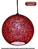 Salebrations 15 cm Dia Maroon Hanging Ball Lamp Shade with Yarn and Led Bulb