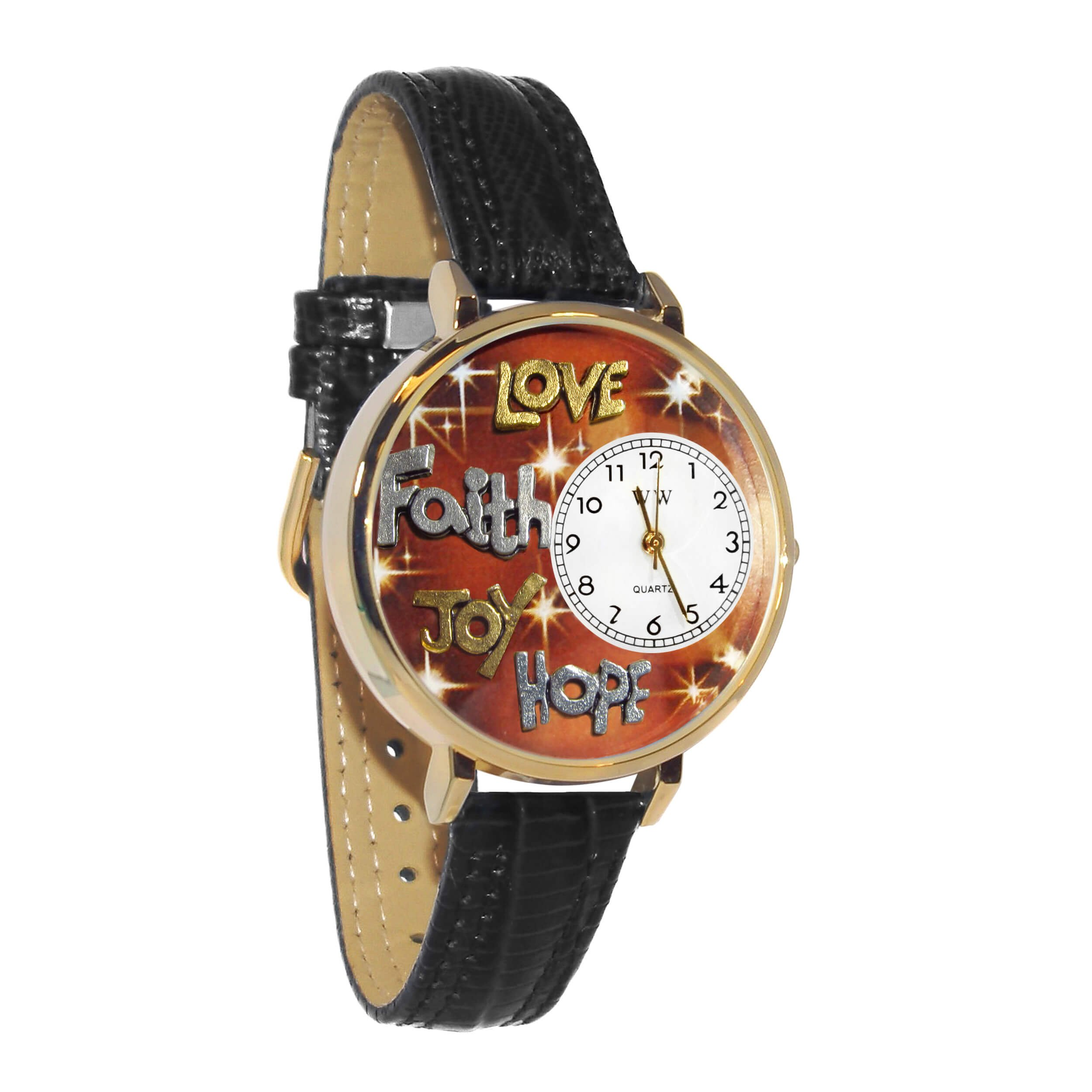 Whimsical Watches Women's G0710015 Unisex Gold Faith Hope Love Joy Black Leather And Goldtone Watch
