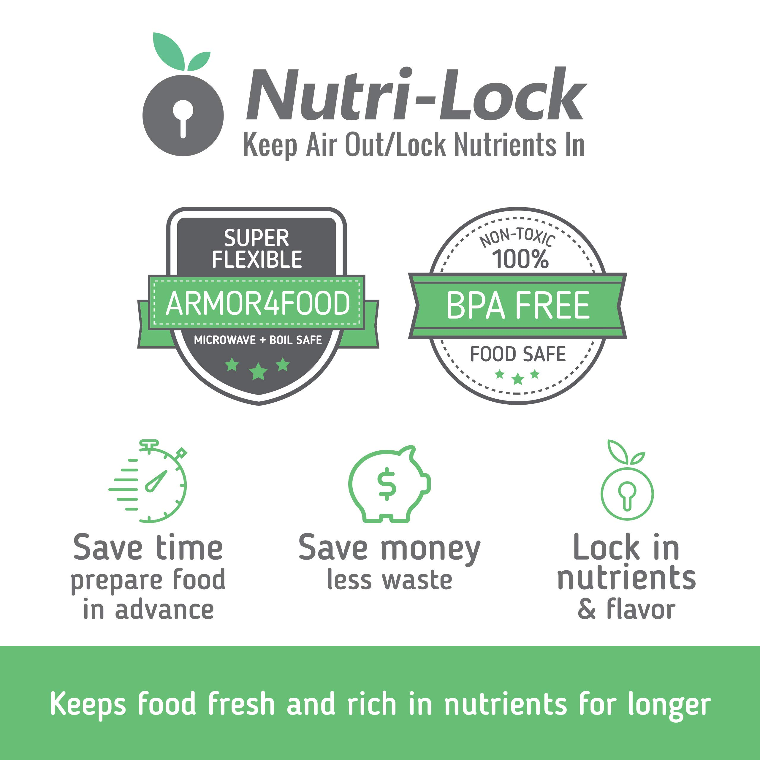 Nutri-Lock Vacuum Sealer Bags. 100 Quart Bags 8x12 Inch. Commercial Grade Food Sealer Bags for FoodSaver, Sous Vide by Nutri-Lock