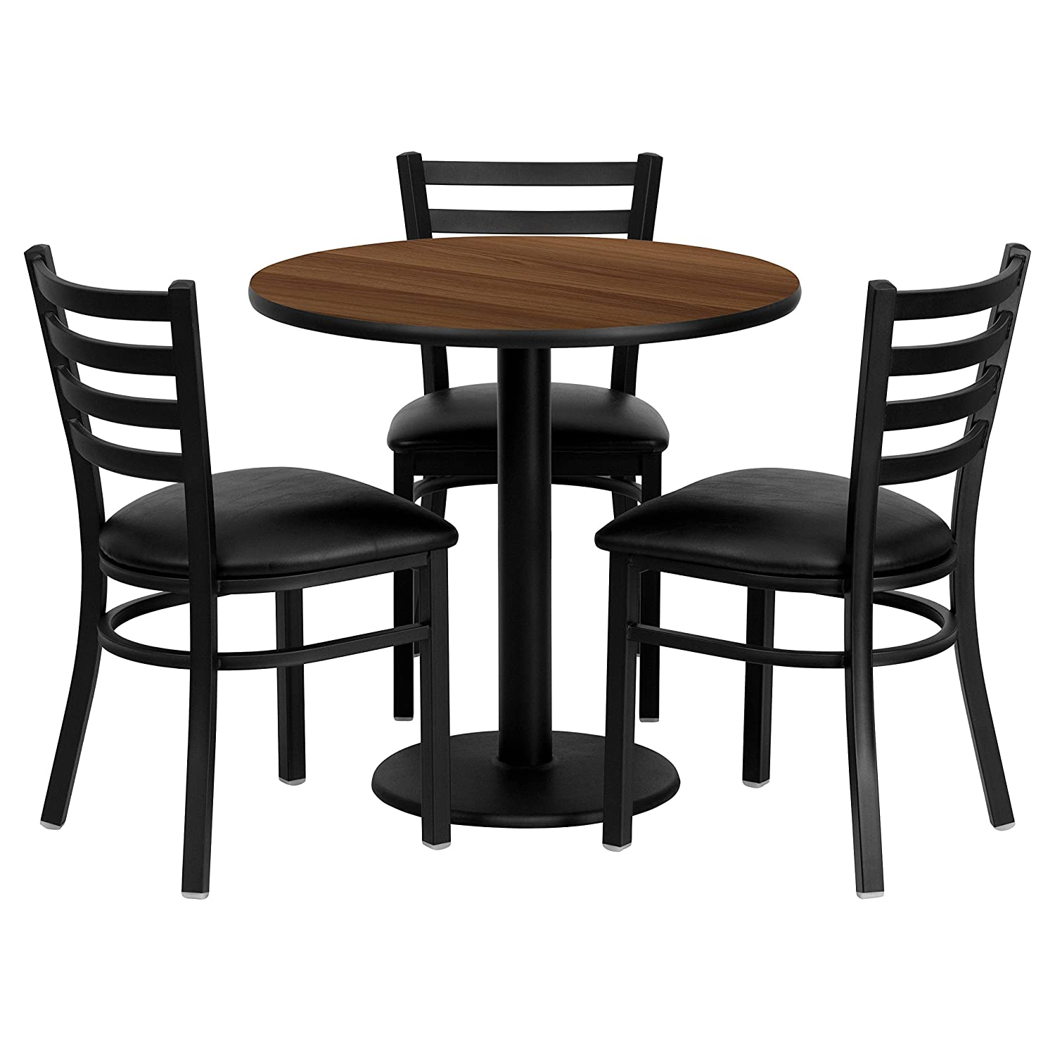 Flash Furniture 30'' Round Walnut Laminate Table Set with 3 Ladder Back Metal Chairs - Black Vinyl Seat
