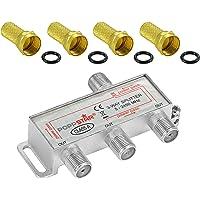 Poppstar Sat Verdeler Antenne Splitter Schakelaar 3-voudig Incl. F-connector (Analoog/Digitaal/BK/Unicable/HD/4k) voor…