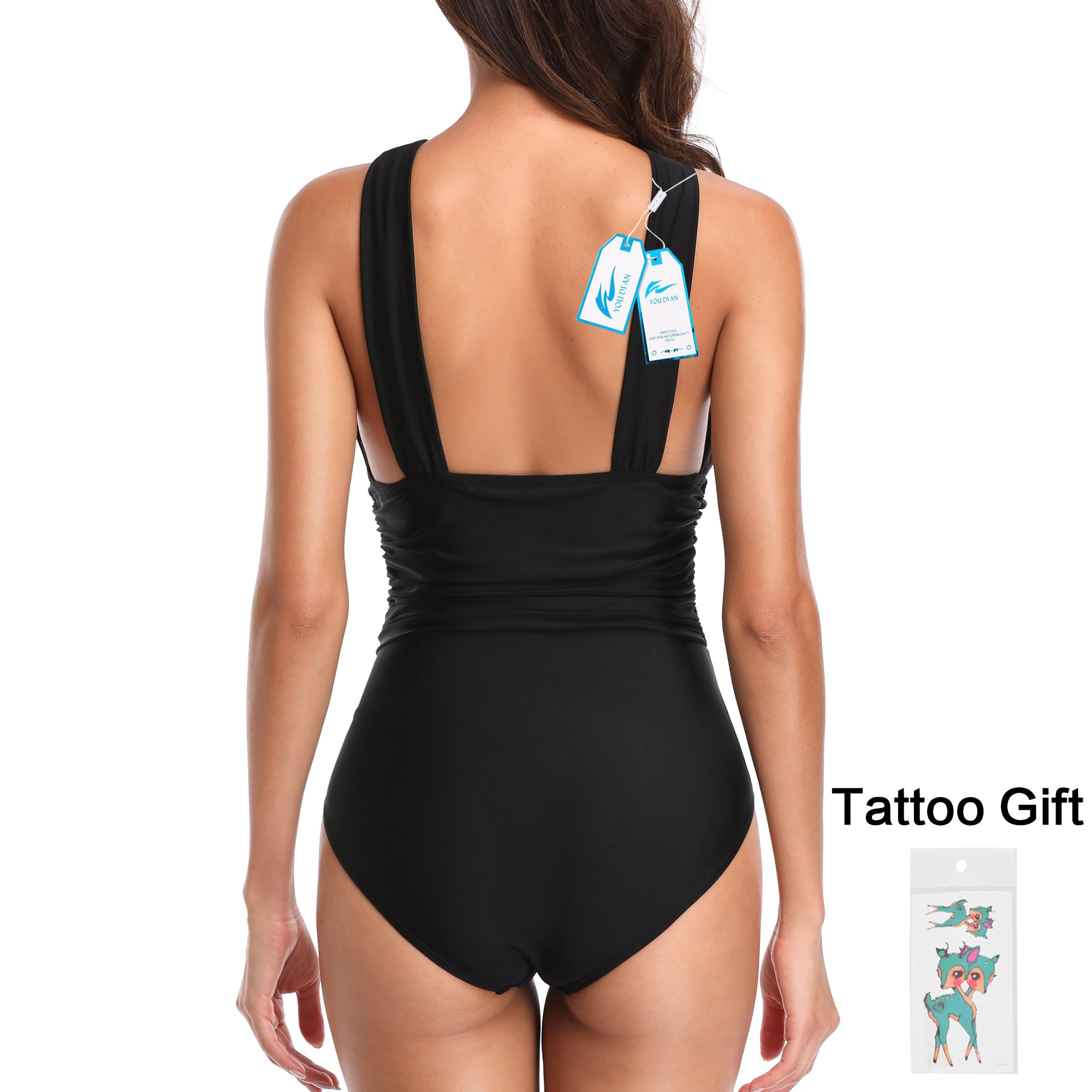 W YOU DI AN Women's One Piece Cross Ruffled Backless Full Coverage Swimsuit Bathing Suit Beachwear(Black, L) by W YOU DI AN (Image #5)