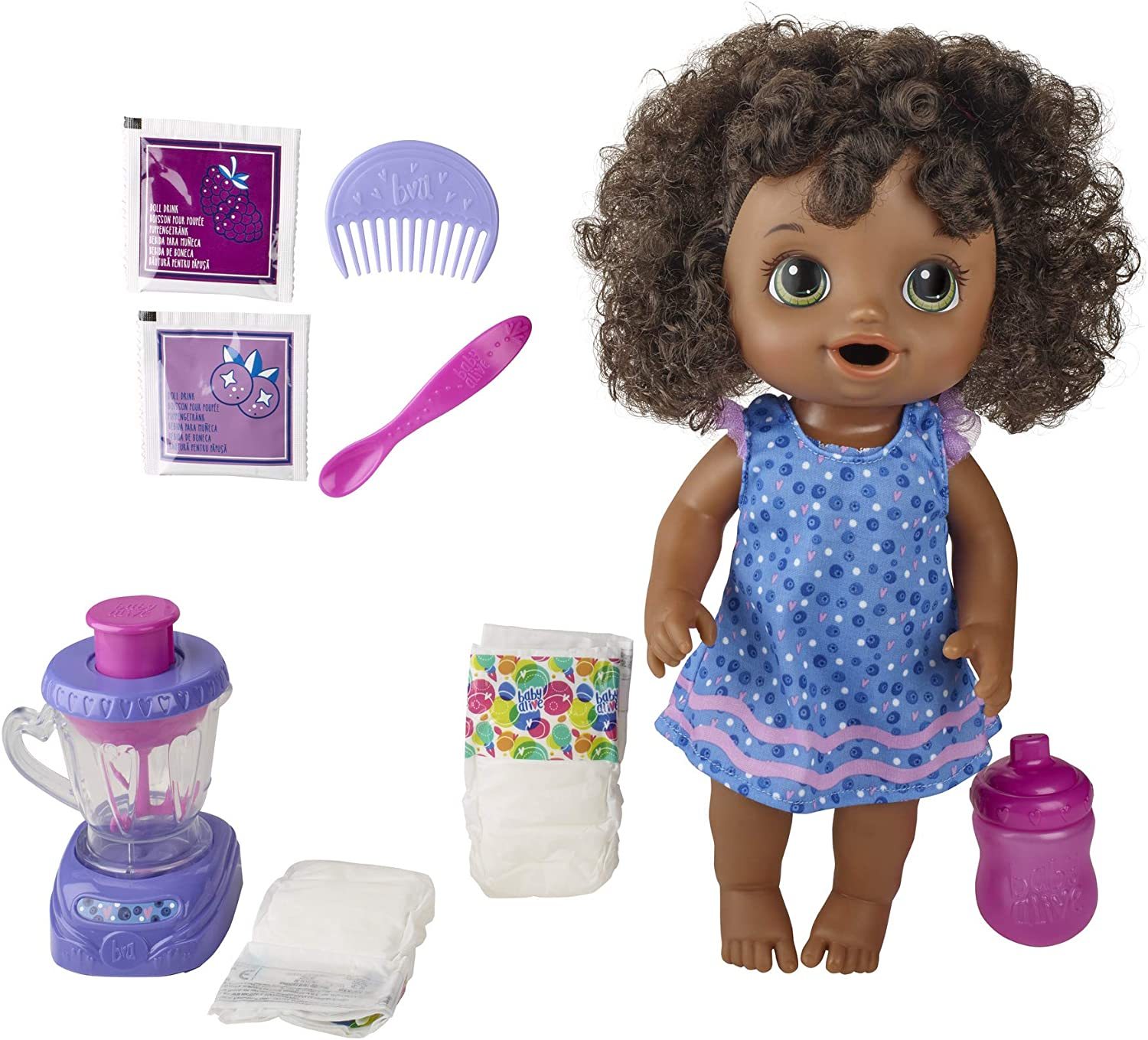 Baby Alive Magical Mixer Baby Doll Berry Shake with Blender Accessories, Drinks, Wets, Eats, Black Hair Toy for Kids Ages 3 and Up