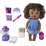 Baby Alive Magical Mixer Baby Doll Berry Shake with Blender Accessories, Drinks, Wets, Eats, Black Hair Toy for Kids Ages 3 a