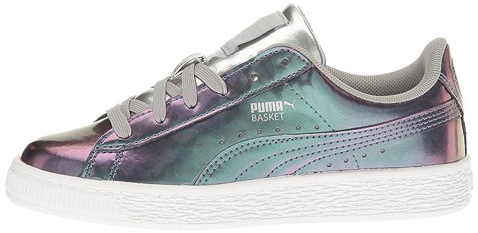 PUMA Kids' Basket Classic Holo PS Sneaker, Puma Silver Puma
