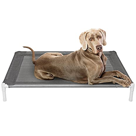 Elevated Cooling Dog Bed, Knitted Fabric Pet Cot, Portable (Large)