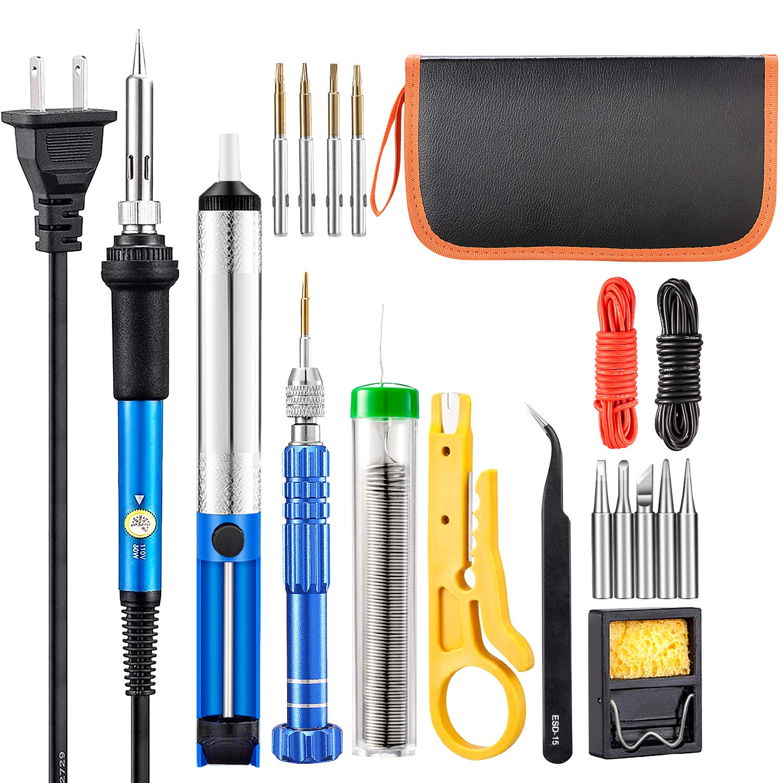 Soldering Iron Kit, with Tempe Control Soldering Iron, Solder Wire, Screwdriver, 5 Iron Tips, Desoldering Pump,Tweezer, Stand, Wire Stripper Cutter, Electronic wires, Pu bag … (dark blue)