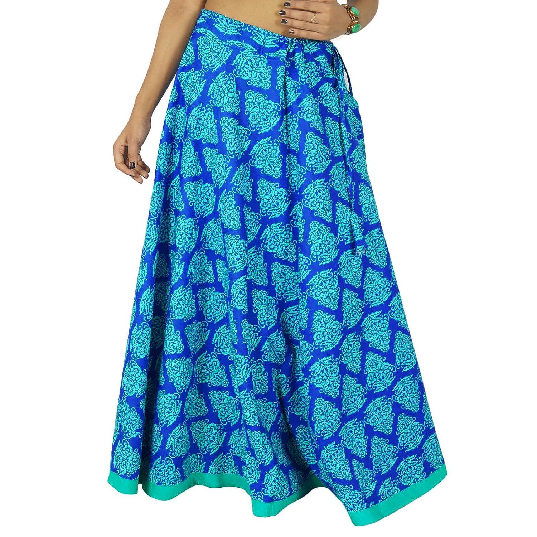 Indische Frauen Baumwolle lange Kleidung Strandabnutzungsrock Boho-Hippie-Spitze