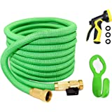 Garden Hose, Water Hose ,100ft Flexible Expanding Hose Expandable Garden Hose Extra Strength Fabric 5000D High temperature Latex and Solid Brass Connector 9 Functions Spray Nozzle for RV Car Garden