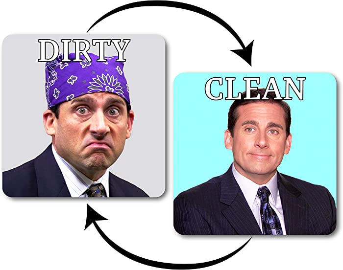 Prison Mike Dishwasher Magnet Clean Dirty Indicator, The Office Parody – Strong Kitchen Dish Washer Reversible Sign, Funny Double Sided Flip Magnet + Bonus Magnetic Plate