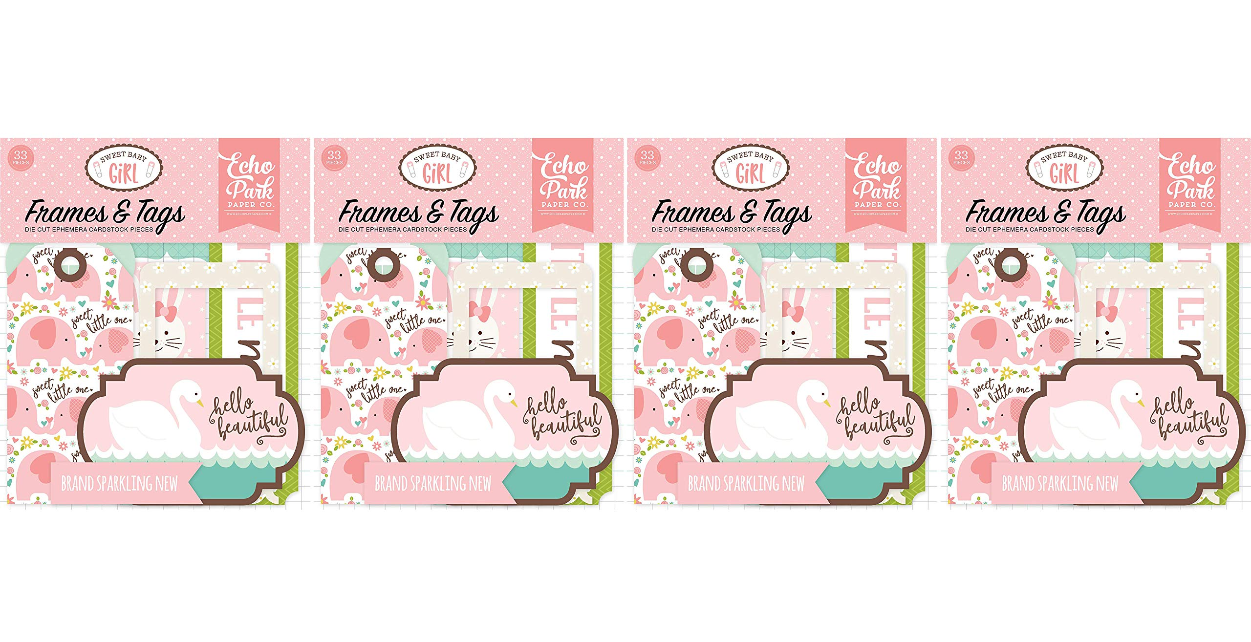 Echo Park Paper Company Sweet Baby Girl Frames & Tags (Fоur Paсk)