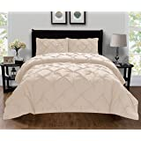 Elegant Comfort Luxury Super King/California King Beige 401RW-Pintuck-Duvet-K-Cream