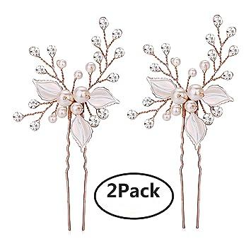 403a27943e955 Keklle Rose Gold Wedding Hair Pins Pure Handmade Leaves Design Bridal Hair  Pin with Rhinestones...