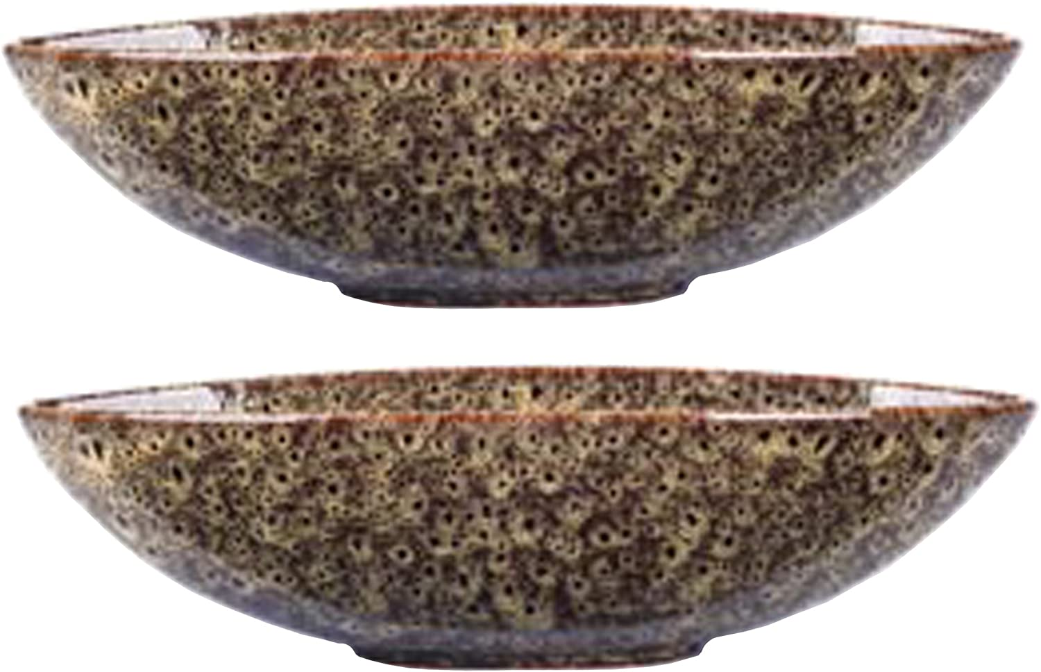 Hosley Set of 2 Decorative Oval Ceramic Bowl Peacock Feather Pattern 14.5 Inch Long. Bowl for Orbs and Potpourri. Ideal GIFT for Weddings Parties Special Occasions LED Votive Tea light Gardens P1