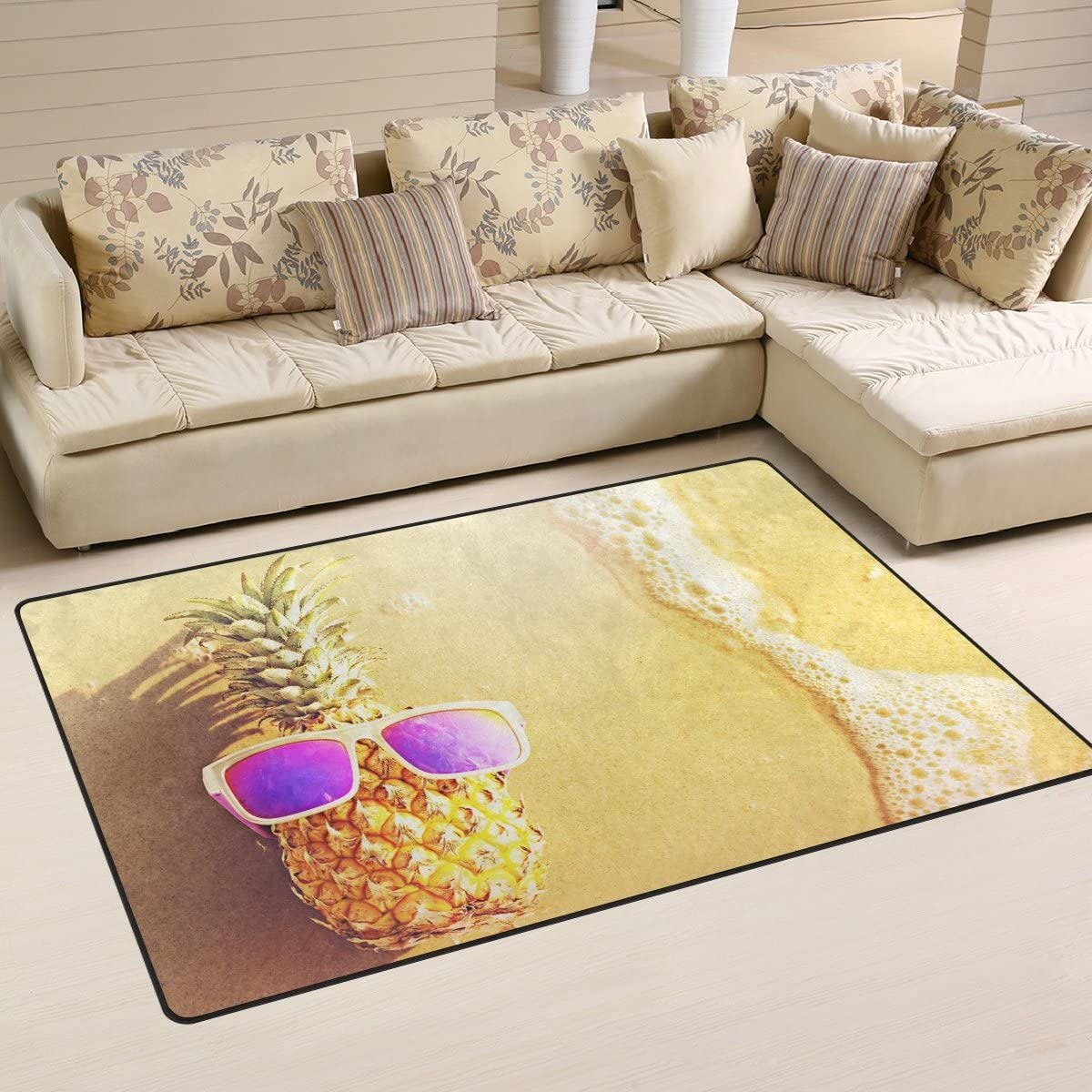 Yochoice Non-slip Area Rugs Home Decor, Stylish Pineapple in Sunglasses on the Beach Floor Mat Living Room Bedroom Carpets Doormats 60 x 39 inches