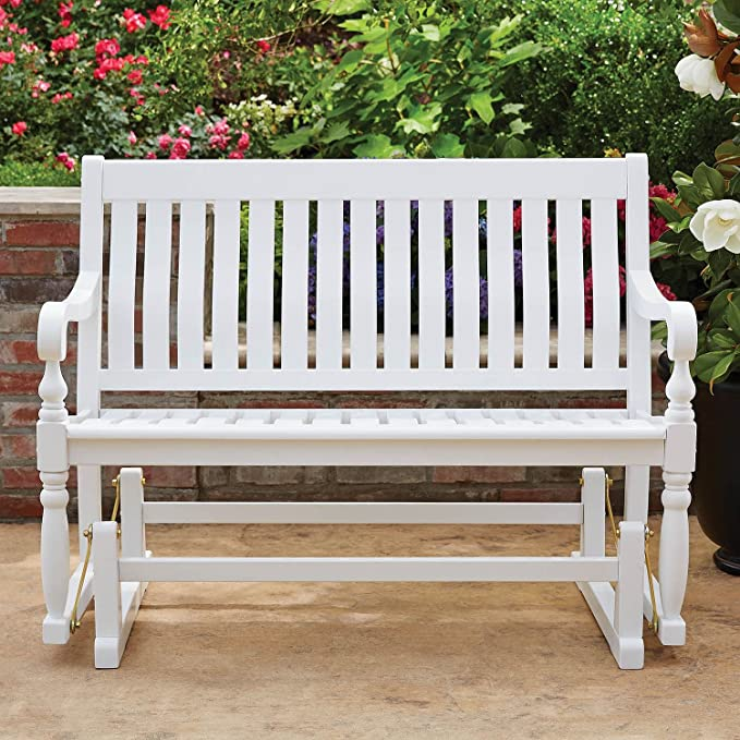 Amazon Com Member S Mark Painted Wood Glider Bench White Garden Outdoor