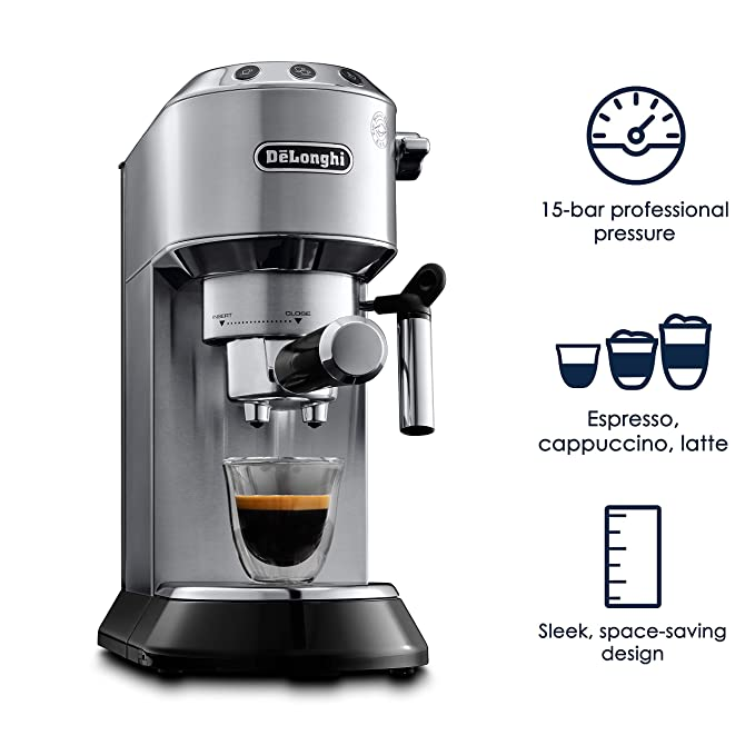 Amazon.com: Delonghi EC680M DEDICA 15-Bar Pump Espresso Machine, Stainless Steel: Kitchen & Dining