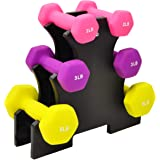 Sporzon! Colored Neoprene Coated Dumbbell Set with Stand