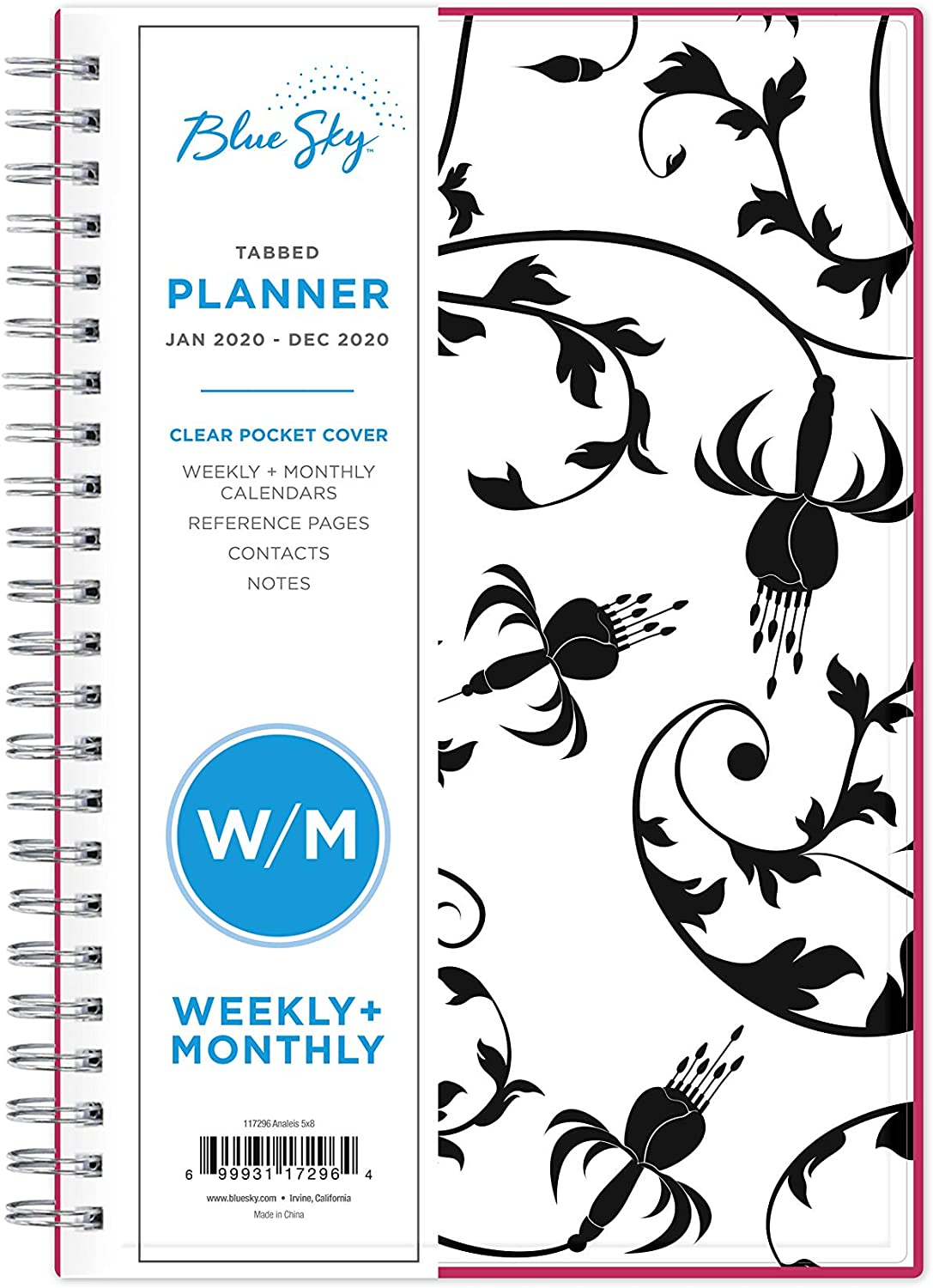"""Blue Sky 2020 Weekly & Monthly Planner, Flexible Cover, Twin-Wire Binding, 5"""" x 8"""", Analeis"""