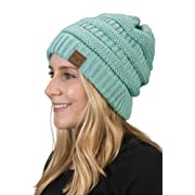 b04dcec804d177 H-6020a-54 Solid Ribbed Beanie - Mint, One Size Fits Most