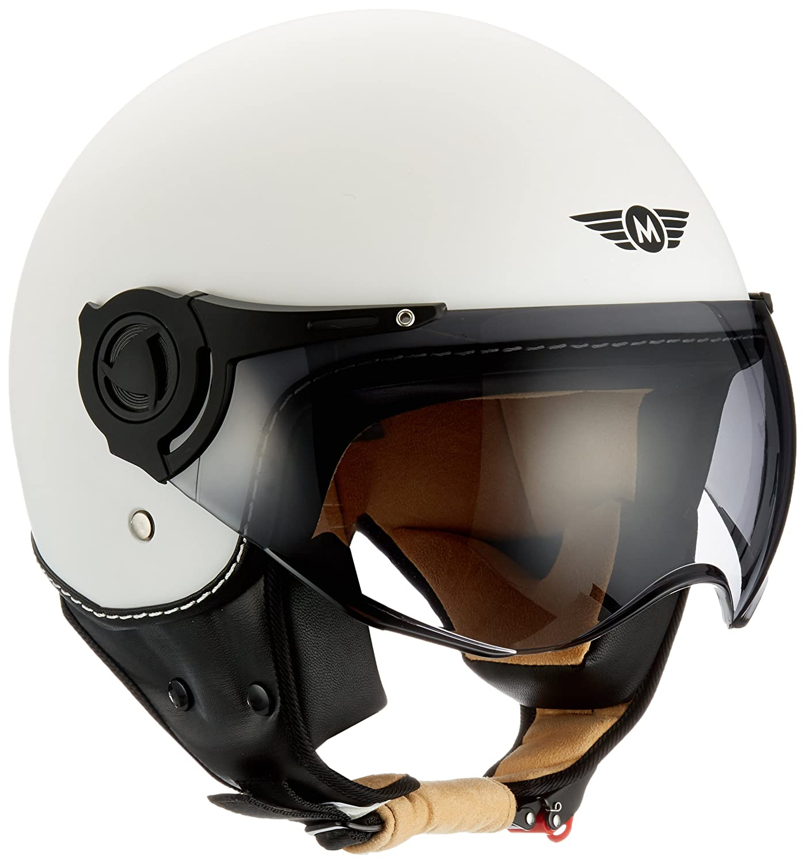 M Moto Helmets H44 Bobber Vintage Chopper Demi-Jet Helmet Scooter Chopper Pilot Retro Biker Vespa Moto Mofa Casque Jet Cruiser 57-58cm Beige