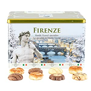 Matilde Vicenzi Firenze Winter Gift Tin | Assortment of Patisseries, Pastries, Cookies | Made in Italy | 32 oz Box