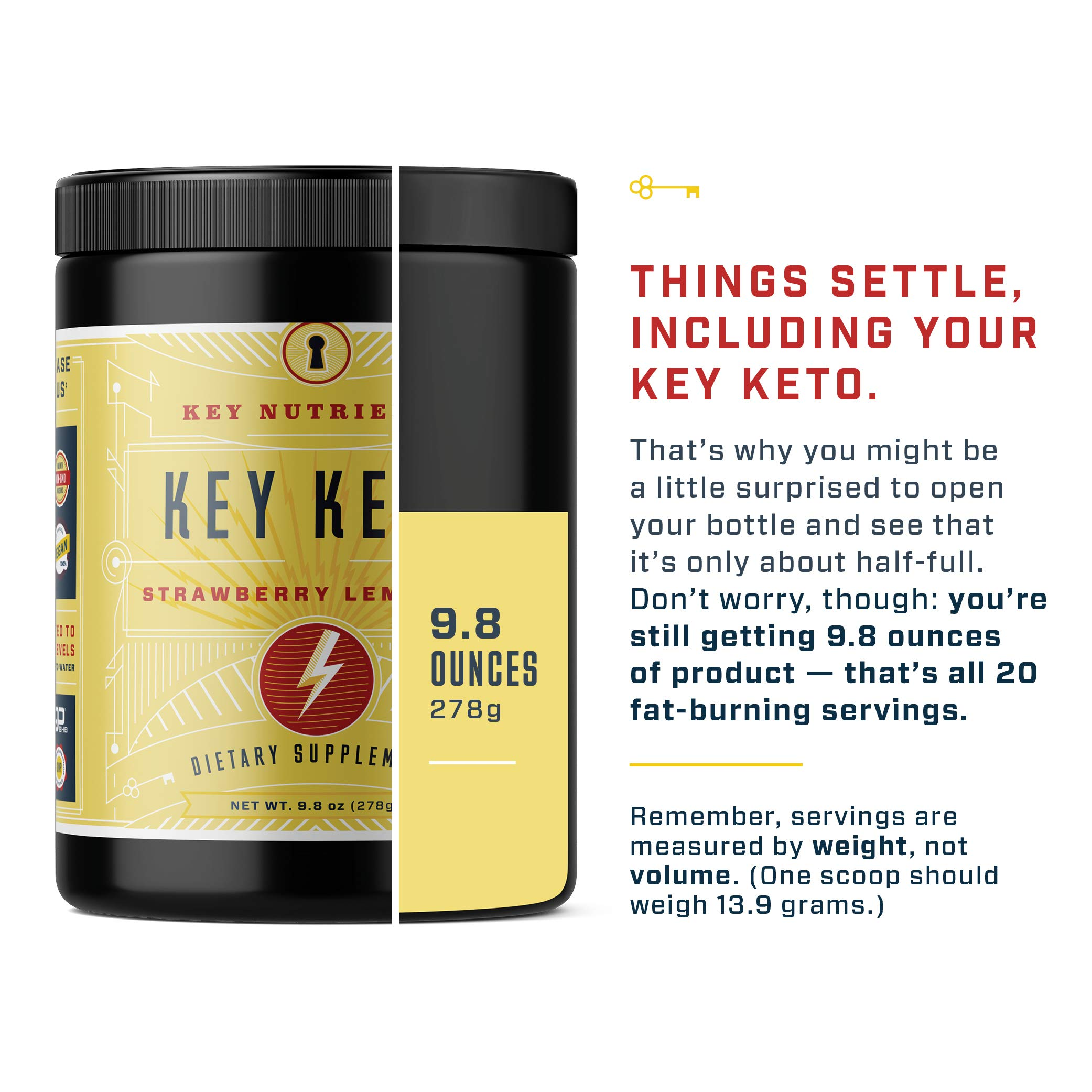 Exogenous Ketone Supplement, KEY KETO: Patented BHB Salts (Beta-Hydroxybutyrate) - Formulated for Ketosis, to Burn Fat, Increase Energy and Focus, Supports a Keto Diet. Strawberry Lemonade (278g) (20) by Key Nutrients (Image #5)