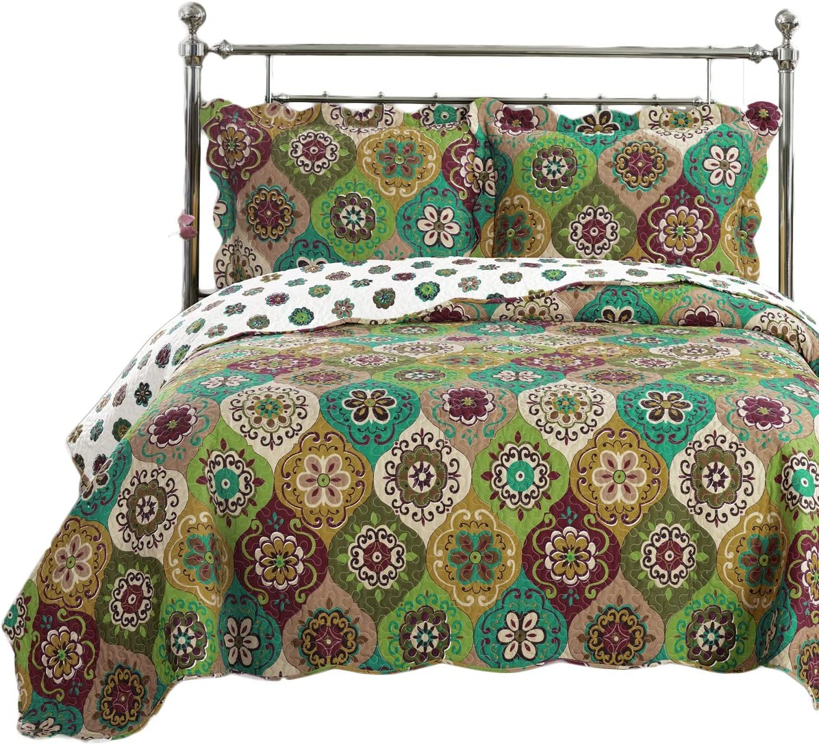 Royal Tradition Bonnie Printed Microfiber Oversized King-California King 3PC Quilt Set, Shades of Green, Gold and Burgundy