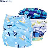 SimplyLife Home Reusable Pack of 6 for Boys - Baby Cloth Diapers, Washable Adjustable Eco-Friendly, Soft Super Absorbent Fabric with Waterproof Cover, Breathable Comfortable No Leaks