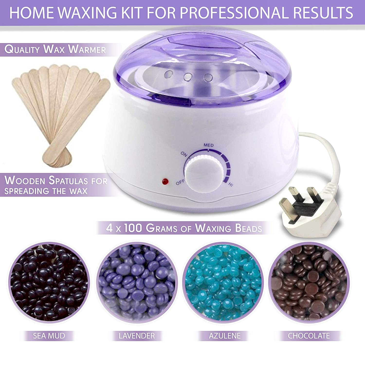 Wax Warmer Waxing Kit for Hair Removal At Home – Adjustable Temperature Wax Warmer – 4-Pack 100g Wax Bags and 20 Application Spatulas Included – See-Through Vented Cover – Auto Shut-Off Function – 14oz Wax Can Paparuna