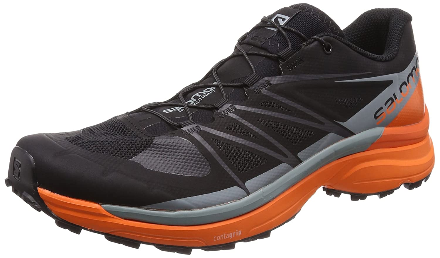 Salomon Wings Pro 3, Zapatillas de Trail Running para Hombre 41 1/3 EU|Negro (Black/Scarlet Ibis/Lead 000)
