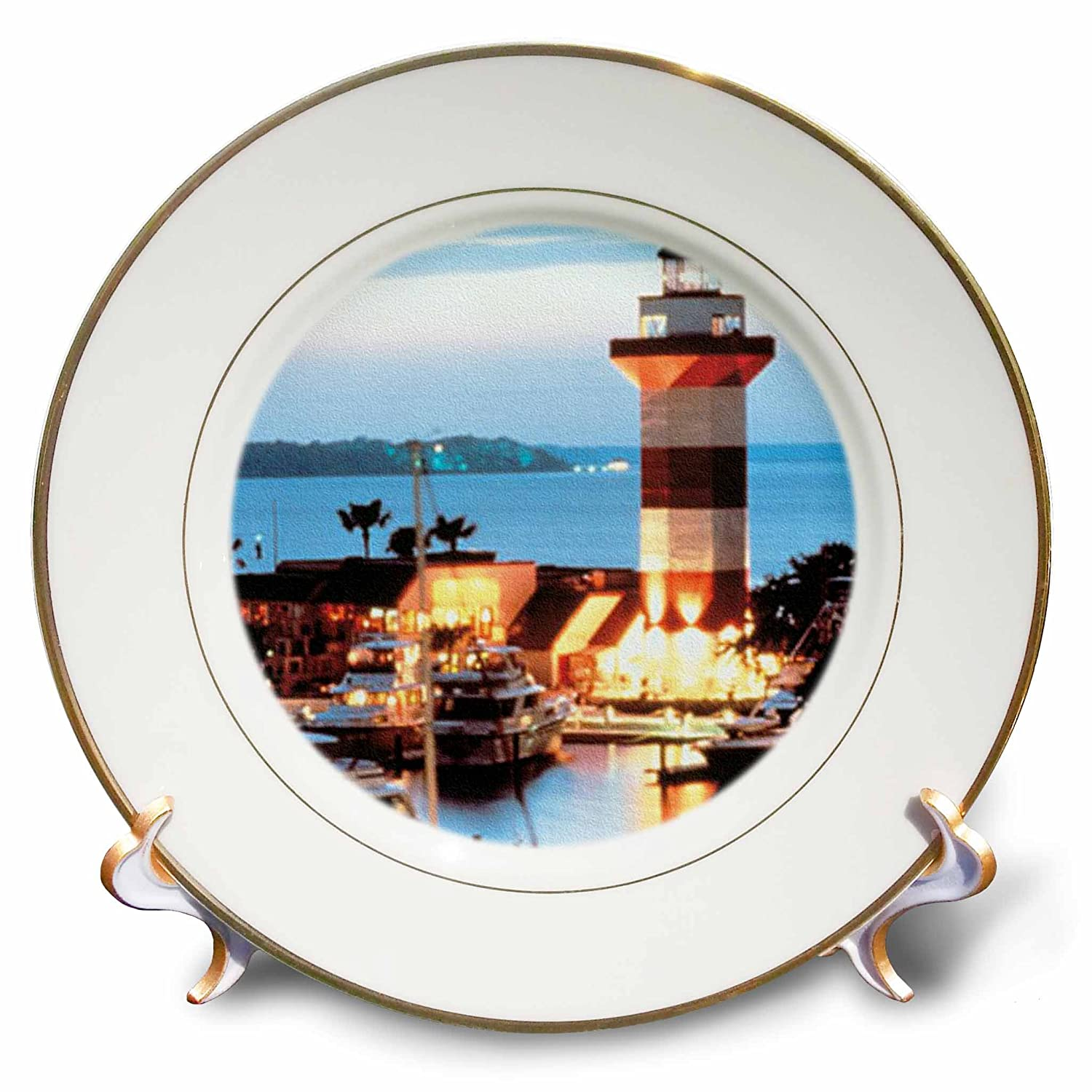 8-Inch 3dRose cp/_61725/_1 Harbour Town Lighthouse at Hilton Head Island at Dusk Porcelain Plate