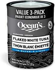 Ocean's Flaked Albacore Tuna in Water Multipack - 3 Count - Low in Fat - Zero Trans Fat - Good Source of Protein - Dolphin Safe, Hook Caught Tuna