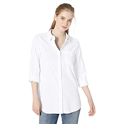 Brand - Daily Ritual Women's Broken-in Cotton Button-Front Tunic Shirt: Clothing
