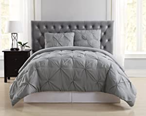 Truly Soft Everyday Pleated Comforter Set, Twin X-Large, Grey