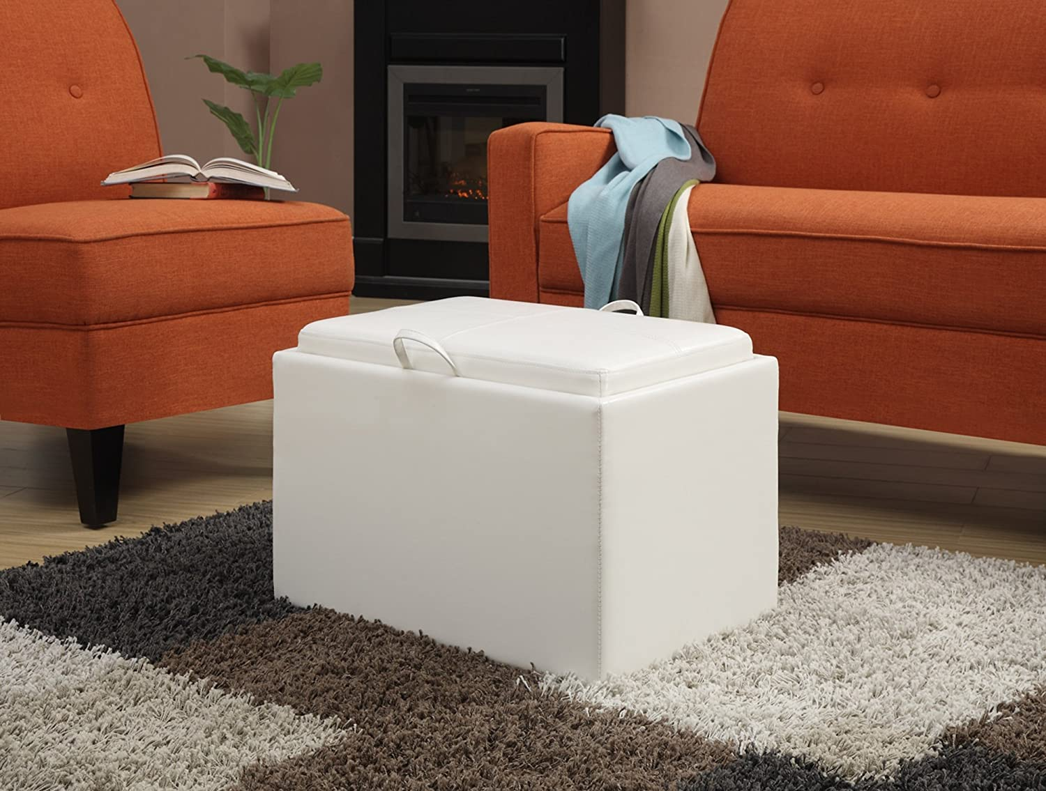 Amazon.com: Convenience Concepts Designs4Comfort Modern Accent Storage  Ottoman, White: Kitchen U0026 Dining