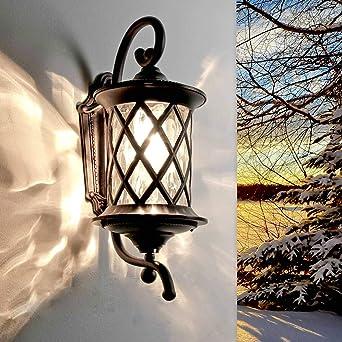 Antik Aluminium Wand Lampe Wandlampe Garten Laterne Gartenlampe Hängelampe Lamp2